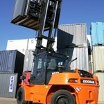 A photo of a Doosan forklift truck