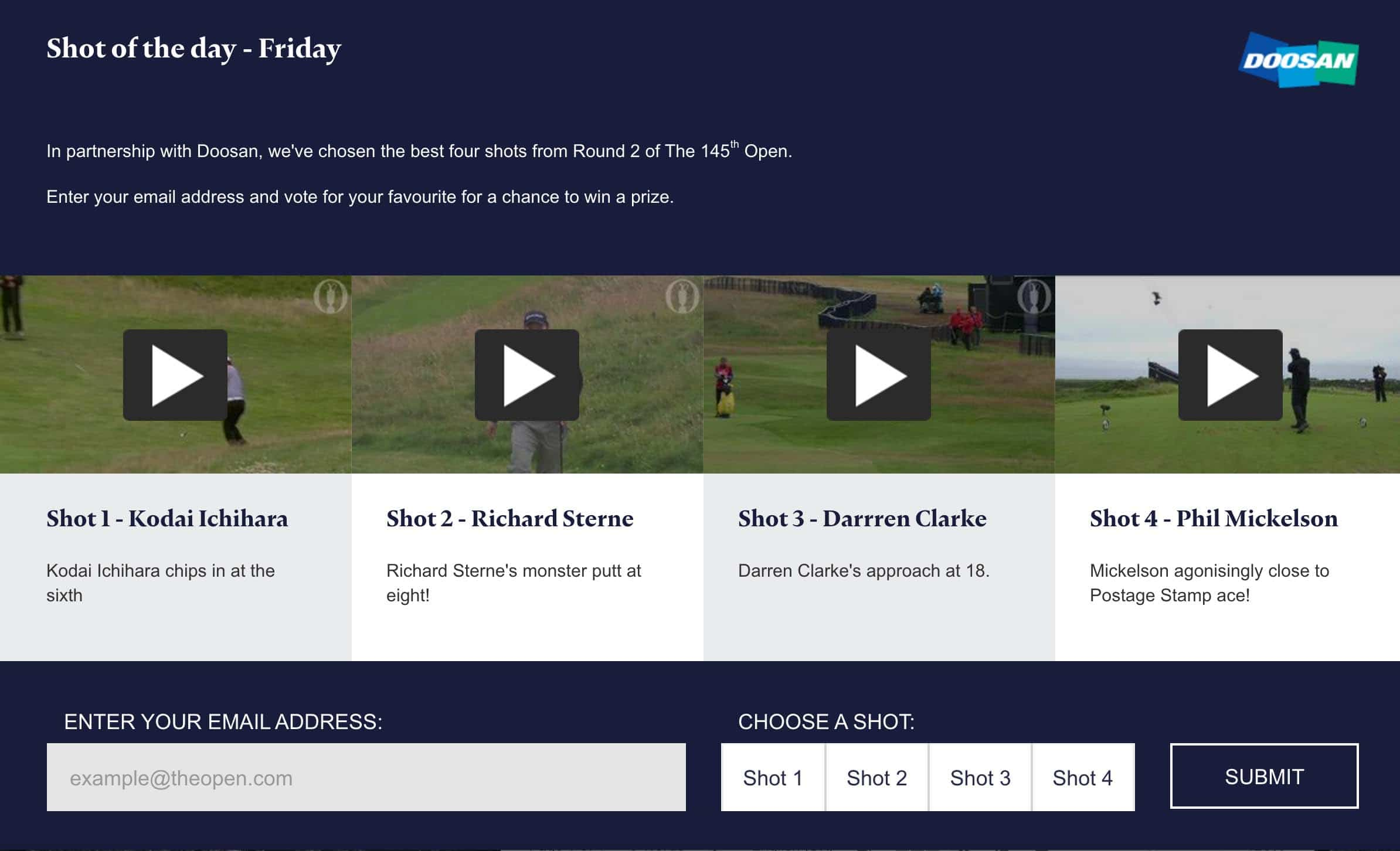 The Open – Shot of the day competition!